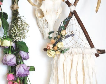 White Triangle Dream Catcher with Dried Flowers