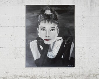 """Audrey Hepburn black and white acrylic painting """"Breakfast At Tiffany's"""" original hand painted artwork wall art home decoration monochrome"""