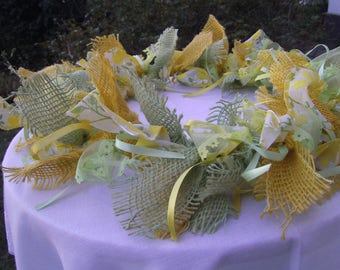 yellow Wreath with Bow - Wreath with Border - Spring Wreath - Summer Wreath - handmade  Wreath - yellow green Wreath