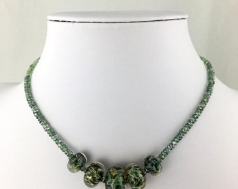 Mystic Green Quartz Faceted Rondelles with Graduated Lamp Work Glass Beads with 925 Sterling Silver Unique Statement Necklace