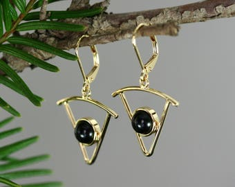 Gold earrings, Triangle 18k vermeil earrings with black wood, Dangle earrings for sale, Leverback, Stick design, Handmade, Wood gifts