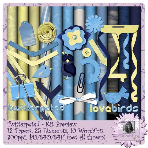 Twitterpatted, Valentine, Anniversary, Digital Scrapbooking kit, digiscrap, scrapbook, paper crafting, card making, page kit, craft, twitter