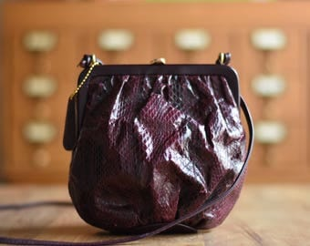 Snakeskin Handbag Shoulder Bag Burgundy Purse Vintage Handbag