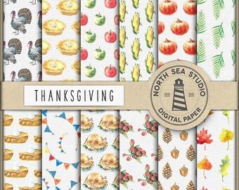 THANKSGIVING, Digital Paper, Watercolor Thanksgiving Paper, Thanksgiving Patterns, Fall Scrapbooking Paper, Coupon Code: BUY5FOR8