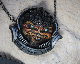 Krogan. Polymeric clay pendant with chain. Mass Effect tribute to Urdnot Grunt.