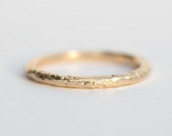 Ready to Ship Carved Bark Band in Eco Friendly Gold - 10k Yellow Gold stacking ring - Carved thin wedding band SIZE 5.5 by Anueva Jewelry