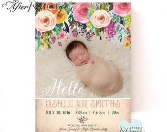 Floral Birth Announcement Baby Girl Birth Photo Announcement Printable File // Printable OR Printed No.1052BABY
