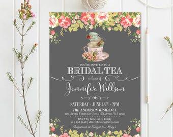 Bridal Shower Tea Party Invitations // Bridal Shower Tea Party Invitation // Vintage Bridal Tea Party Invite // Printable No.898BRIDE