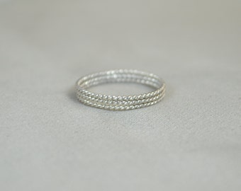 Thin Silver Spiral Stackable Ring(s), Stacking Rings, Dainty Silver Ring, Silver Boho Ring, Rustic Silver Rings, Silver Band, Thin Ring