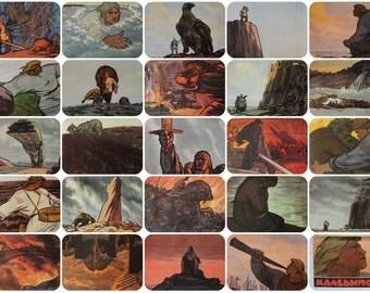 Kalevipoeg - Estonian national epic - Set of 24 Vintage Soviet Postcards - 1966. Illustrator A. Oya. Sovetskiy hudozhnik. Folklore, Giant