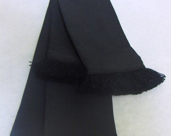 Black Cotton Sash w/Black Fringe for Pirate, Ren Faire, Cosplay