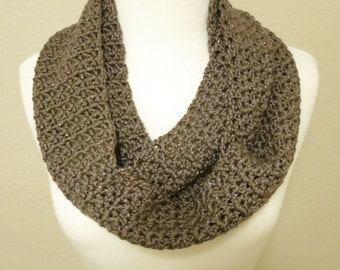 Crochet Infinity Scarf in Sparkly Brown