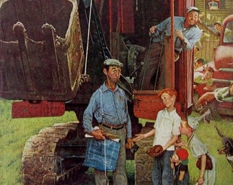 1954 Construction Crew & Baseball Diamond - Norman Rockwell Illustration - Saturday Evening Post Cover Art - 1950s Studebaker Mobil Gas Ad