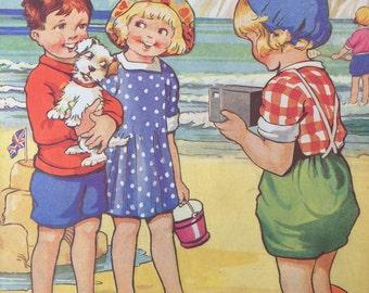 Vintage-Book Plate-Seaside-Children-Puppy-Dog-Terrier-Beach-Ocean-1940's-Matted-Nursery-Wall decor