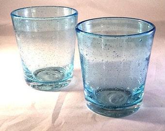 Set of 2 Aqua Tumblers, Rock Glasses, Old Fashioned