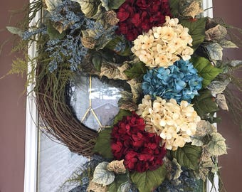 Patriotic Wreath, July 4th Wreath, Hydrangea Wreath, Red/White/Blue Wreath, Front Door Wreath