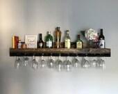 "48"" (X-LONG) Rustic Wood Wine Rack Shelf & Hanging Stemware Glass Holder Organizer Bar Shelf Unique"