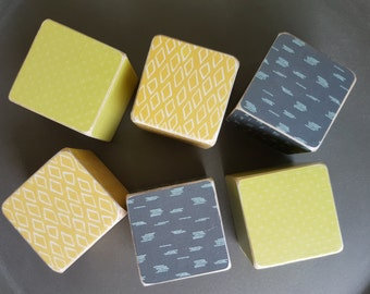 Set of 6 patterned handmade building nursery blocks