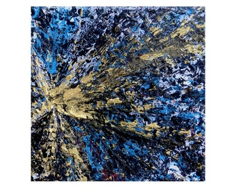 Very small abstract painting, gold black blue white, affordable art, mini painting on canvas, 4 x 4 inches, free shipping