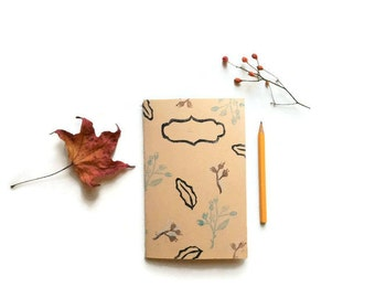 Ecru botanical journal, Retro notebook vintage, Beige leaf journal, Brown botanical notebook