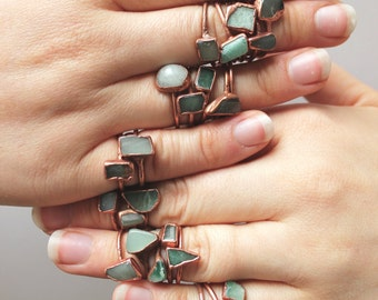 Green Aventurine and Copper Electroformed Rings /// Raw Stone Ring /// August Birthstone /// Boho Jewelry