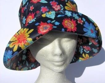 women rain hat, rainhat waterproof,light waterproof tissue, bucket rain hat, blu flower print design