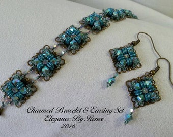 Charmed Bracelet and Earrings Set - Tutorial - PDF Instant Download