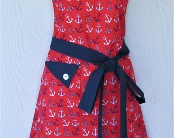 Red Anchor Apron, Nautical Theme Apron, Retro Style Apron, KitschNStyle