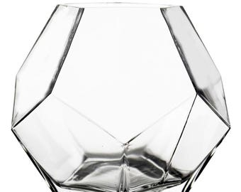 """Geometric Glass Vases Terrarium and Candle Holder. H-7"""", Open D-4"""" #GGV101/07"""