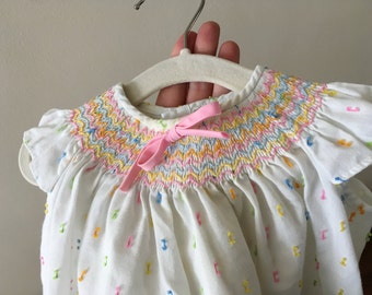 Vintage Smocked Baby Top - Size 3-6 months