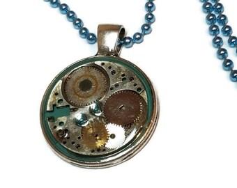 Blue CyberPunk Pendant Necklace, Steampunk Necklace with Watch Parts, Blue Steampunk Pendant
