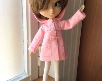 Dufflecoat with hood pink «chamallow», for dolls Pullip