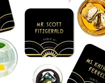 The ALICE . Place Card Coasters . Wedding Escort Card Art Deco Great Gatsby 1920s Gold Silver Black Speakeasy Parlor . Guest Names & Tables