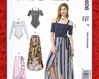McCall's Sewing Pattern M7606, Off-Shoulder Bodysuits, Wrap Skirts, Sizes XS S M, Casual Summer Boho Chic Fashion, Festival Dance Wear UNCUT