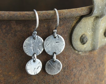 Sterling silver earrings double circle dangly earrings textured big small circles silver ear hooks