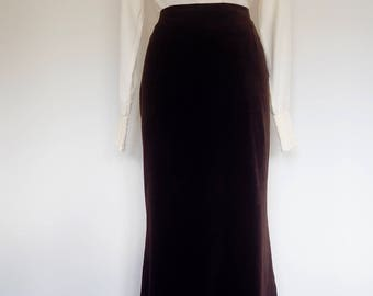 1940's Chocolate brown velvet skirt by Dernier Cri de Paris