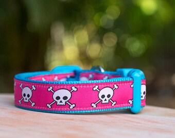 Retro Pink on Blue Skulls Dog Collar / Dog Collars Australia / XS-XL