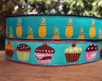 "House Collar - Whippet, Greyhound, Iggy, small to large dog - 1"" width - Adjustable Tag Collar - Pineapples & Cupcakes"