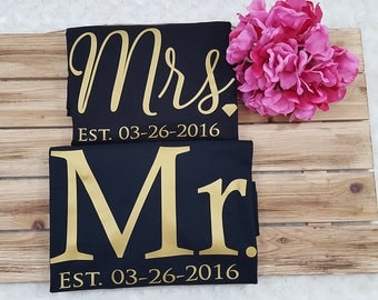 MR and MRS, mr and mrs shirt, mrs and mr set, wedding gift, custom mr mrs, wedding shirt set, bride and groom gift, bridal shower, bride