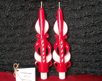 Red Tapers, Hand Carved Candles, Unity Candles, Wedding Candles, Unique Home Decor, Gift Idea, Birthday Candles