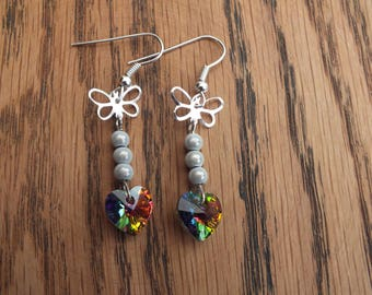 Rainbow heart earrings, rainbow Swarovski heart earrings, heart earrings, butterfly earrings, summer earrings