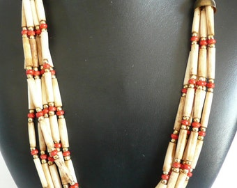 Vintage Tribal Bone Beaded Necklace Multi Strand Bone Beaded Necklace