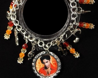 Prince Inspired Charm Bracelet With 9 Charms & Beads - Makes A Great Gift Item