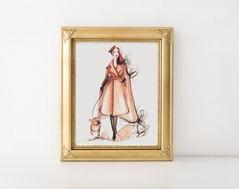 Girl with Frenchie, French bulldog art, Fashion illustration, Fashion sketch, French bulldog print, Fashion wall art, Fashion art
