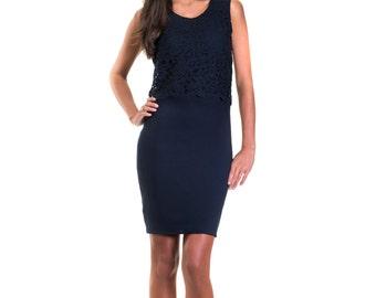 Christina Navy Blue Lace Crop Top Dress