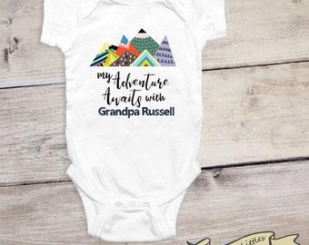 Personalized Grandpa Onesie® Adventure Awaits Grandpa Gift Custom Onesie® Grandparents Onesies® Gift for Grandson