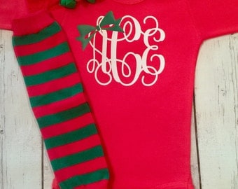 1st Christmas Outfit, Baby Girl First Christmas , First Christmas  Set, Personalized Christmas Outfit, Monogram Christmas Outfit