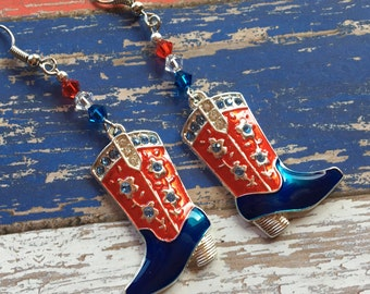 Patriotic Earrings, 4th of July Earrings, Red, White and Blue  Earrings, Cowboy Jewelry, Summer Jewelry,Cowboy Earrings, Womens Jewelry