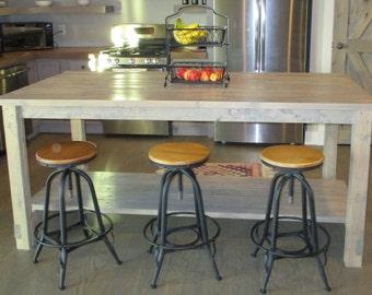 Rustic Oversized Kitchen Island With Weathered Grey Finish Custom Handmade Farmhouse Style Extra Large Kitchen Table