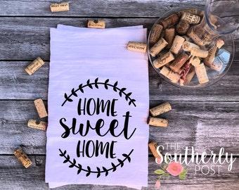 Home Sweet Home Laurel Wreath Flour Sack Kitchen Towel - Farm House Towel - Wedding Gift - Housewarming Gift -  tea Towel